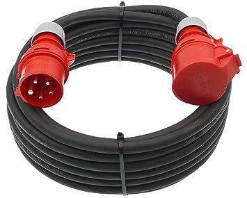 CEE-Verlängerung 16 A 400 V 10 m H07RN-F 5 x 2,5 mm² schwarz IP44