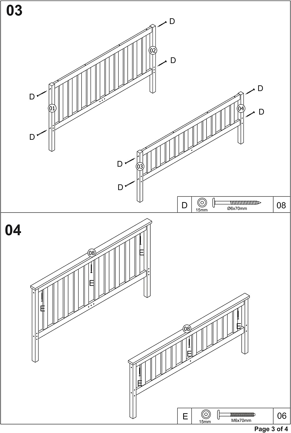 Double bed002 Pandamoto Double Bed Solid Wooden Pine Bed 46 Wooden Frame In White