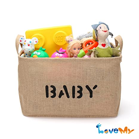 Jute Storage Basket And Organizer With Handles,Eco Friendly For Baby Toy  Storage(