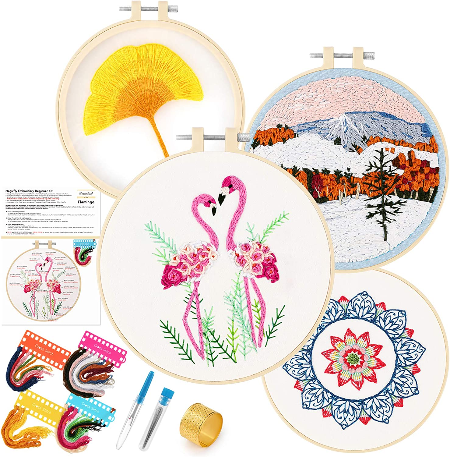4 Sets Embroidery Starter Kit with Pattern 4 Embroidery Clothes Cross Stitch Kit for Beginners Include Instructions 1 Plastic Embroidery Hoops Color Threads and Tools Kit