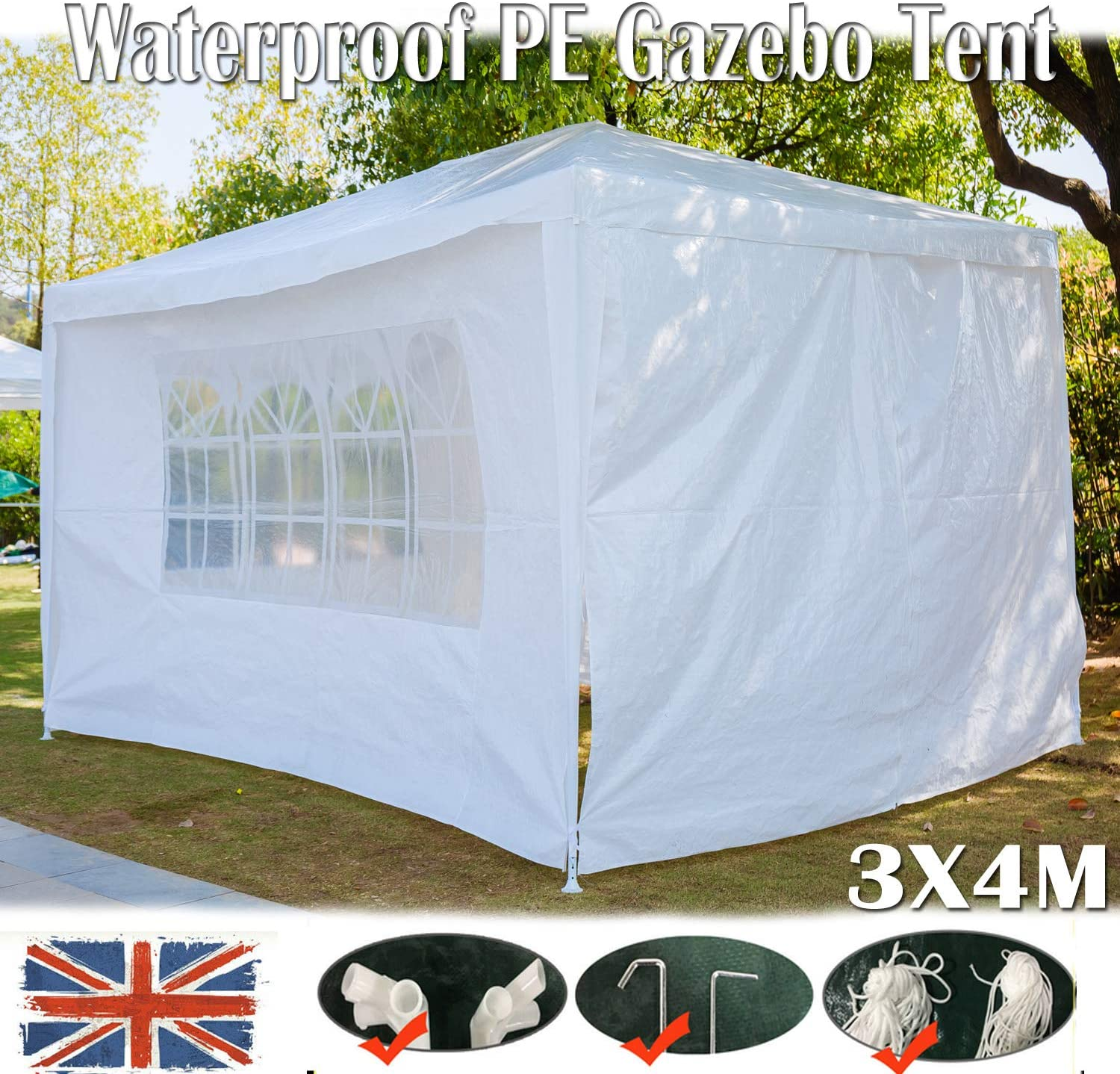 Marquee Gazebo Camping Garden Tent Canopy Market Shade W// Side Walls 3X3M 3X4M