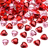 Chengu 200 Pieces Red Acrylic Heart for Valentines Day, Wedding Heart Table Scatter Decoration, Flat Back Heart Rhinestones, 0.5 Inch (200 Pieces)