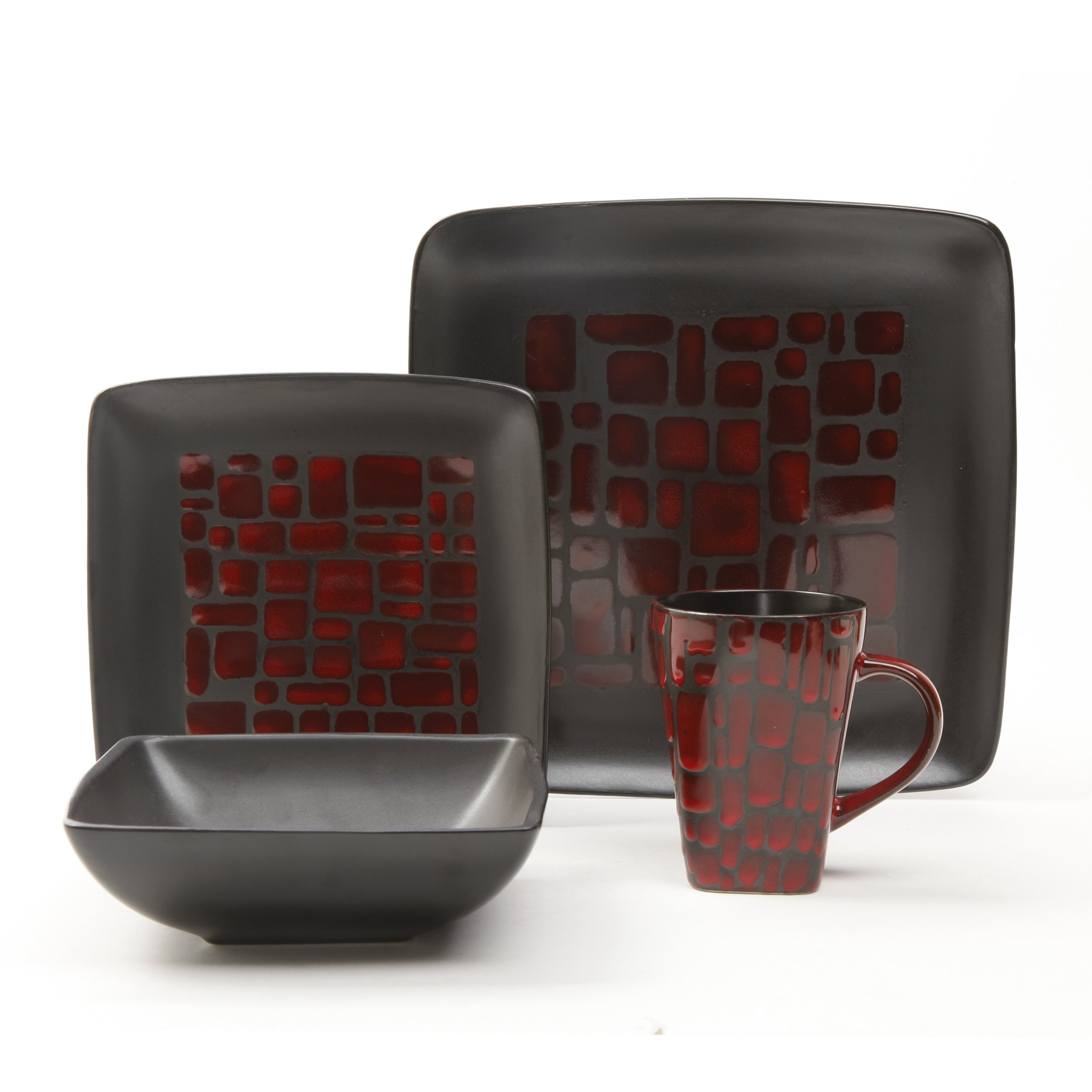 Gibson Cabazon Square Dinnerware Set, 16-Piece, Red