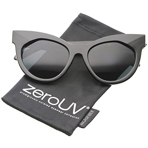 7da7a36f082 Womens Mod Fashion Oversized Flat Lens Bold Chunky Cat Eye Sunglasses 64mm  (Shiny Black-