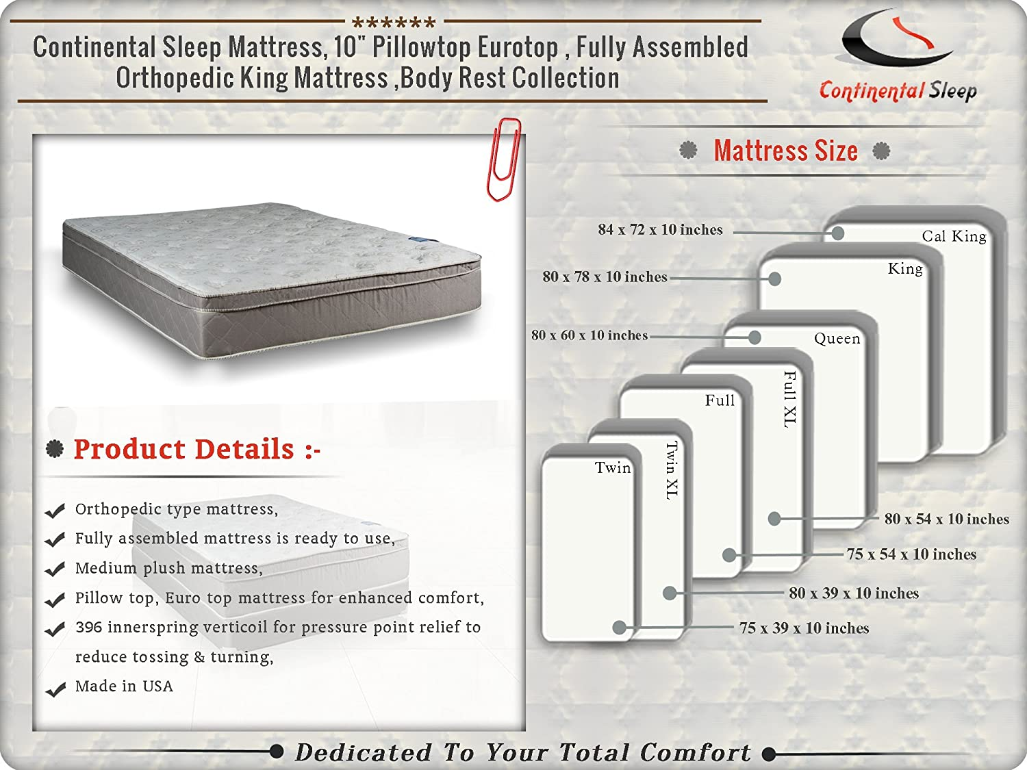 """Amazon.com: Continental Body Rest Collection 10"""" Pillowtop Orthopedic  Mattress and Box Spring Set, Fully Assembelled - Luxurious Euro Top with  Optimal Back ..."""