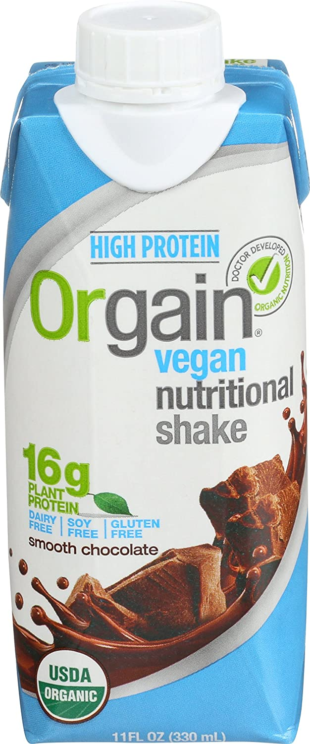 Orgain Plant Based Organic Vegan Nutrition Shake, Smooth Chocolate, 11 Ounce, 12 Count