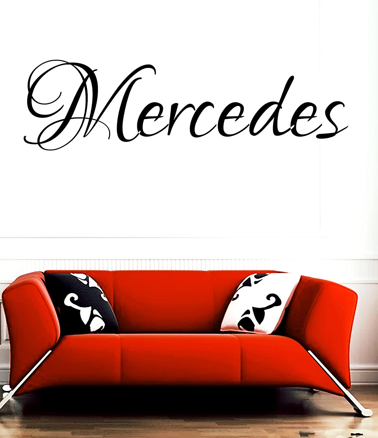 HUANYI Mercedes girl name or boy name room name wall quote art vinyl decal sticker