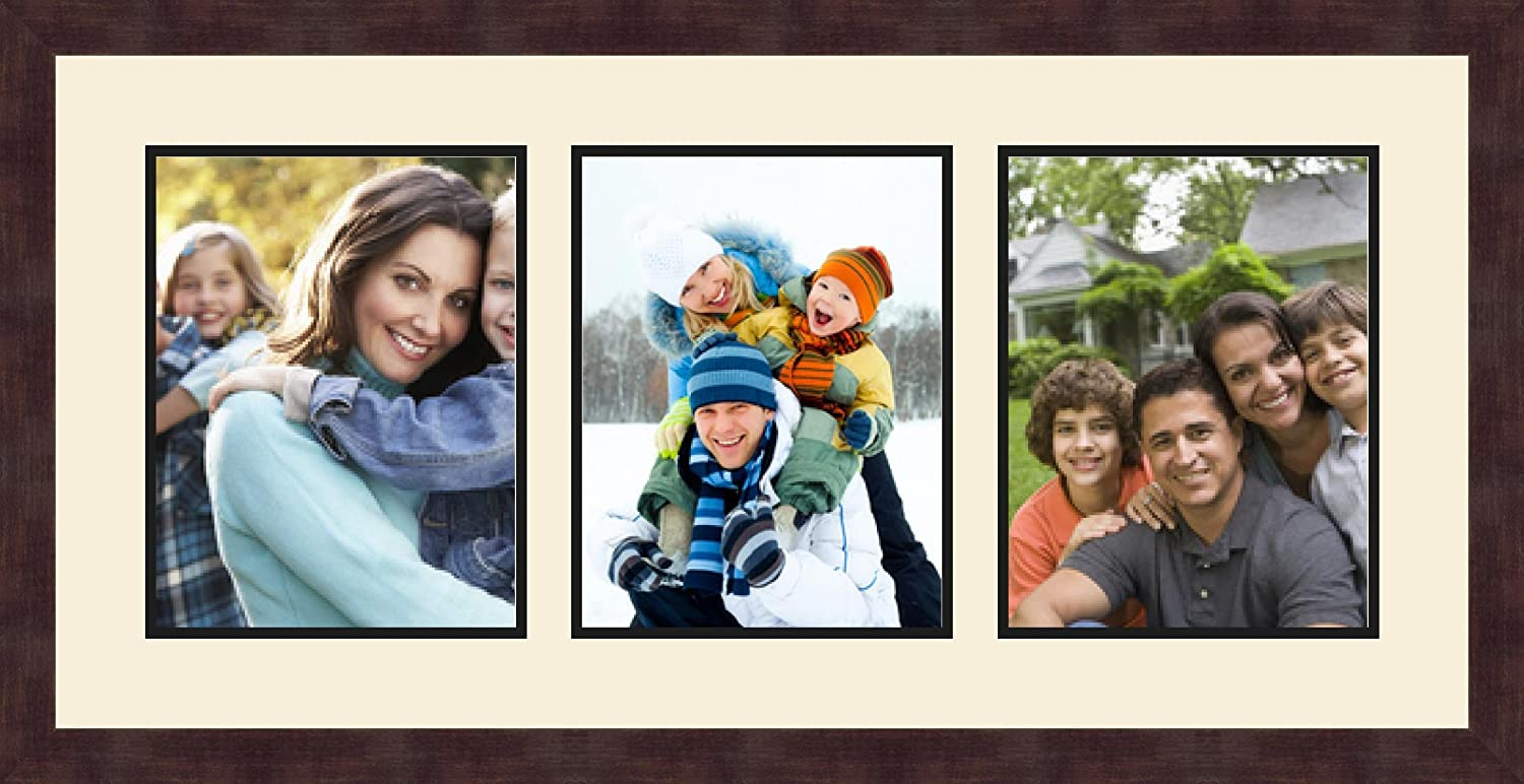 Art to Frames Double-Multimat-875-818//89-FRBW26061 Collage Frame Photo Mat Double Mat with 3-8.5x11 Openings and Espresso Frame
