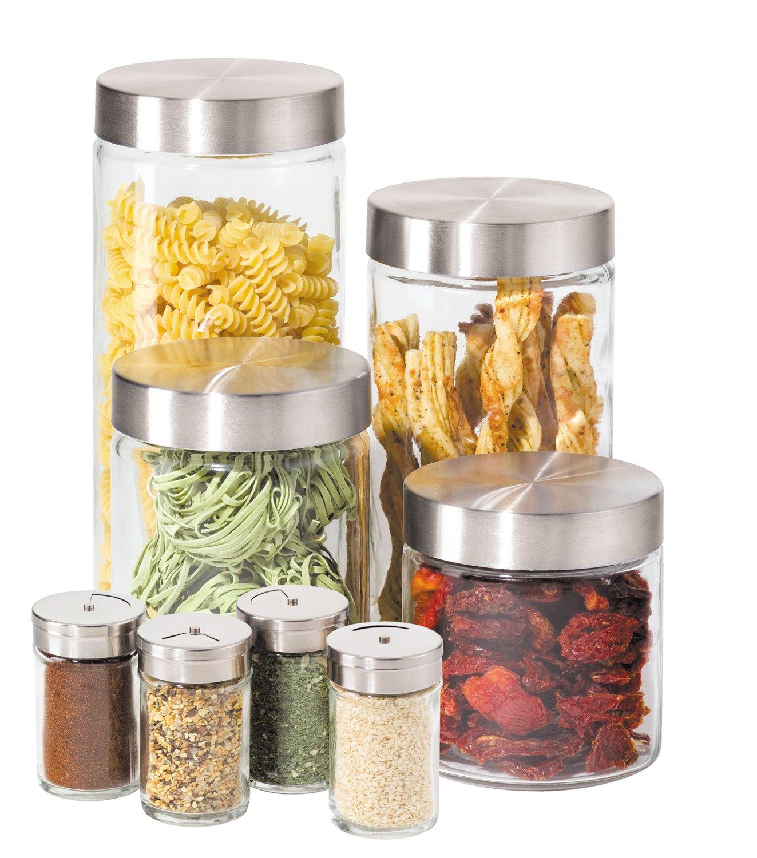 amazon com oggi 8 piece round airtight glass canister and spice