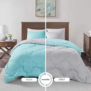 Comfort Spaces Vixie 3 Piece Comforter Set All Season Reversible Goose Down Alternative Stitched Geometrical Pattern Bedding, Full/Queen, Aqua/Grey