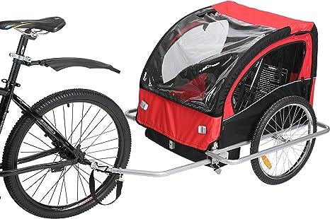 Fiximaster BT-502 - Remolque de bicicleta para 2 niños pequeños, color rojo y negro: Amazon.es: Bebé