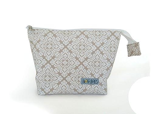 Neceser de tela con bolsillos interiores, bolsa de maquillaje, estuche multiuso: Amazon.es: Handmade