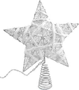 Rustic Christmas Tree Topper Star, 10 Light Indoor White And Natural Cotton Star Tree Topper