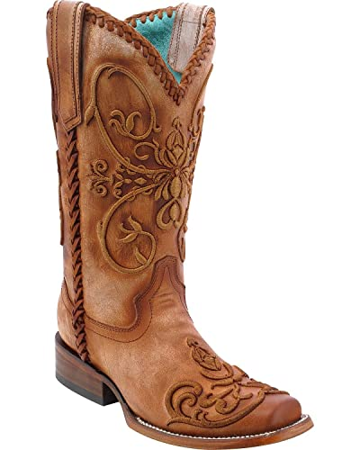 Women's Whip Stitch Cowgirl Boot Square Toe - C2980