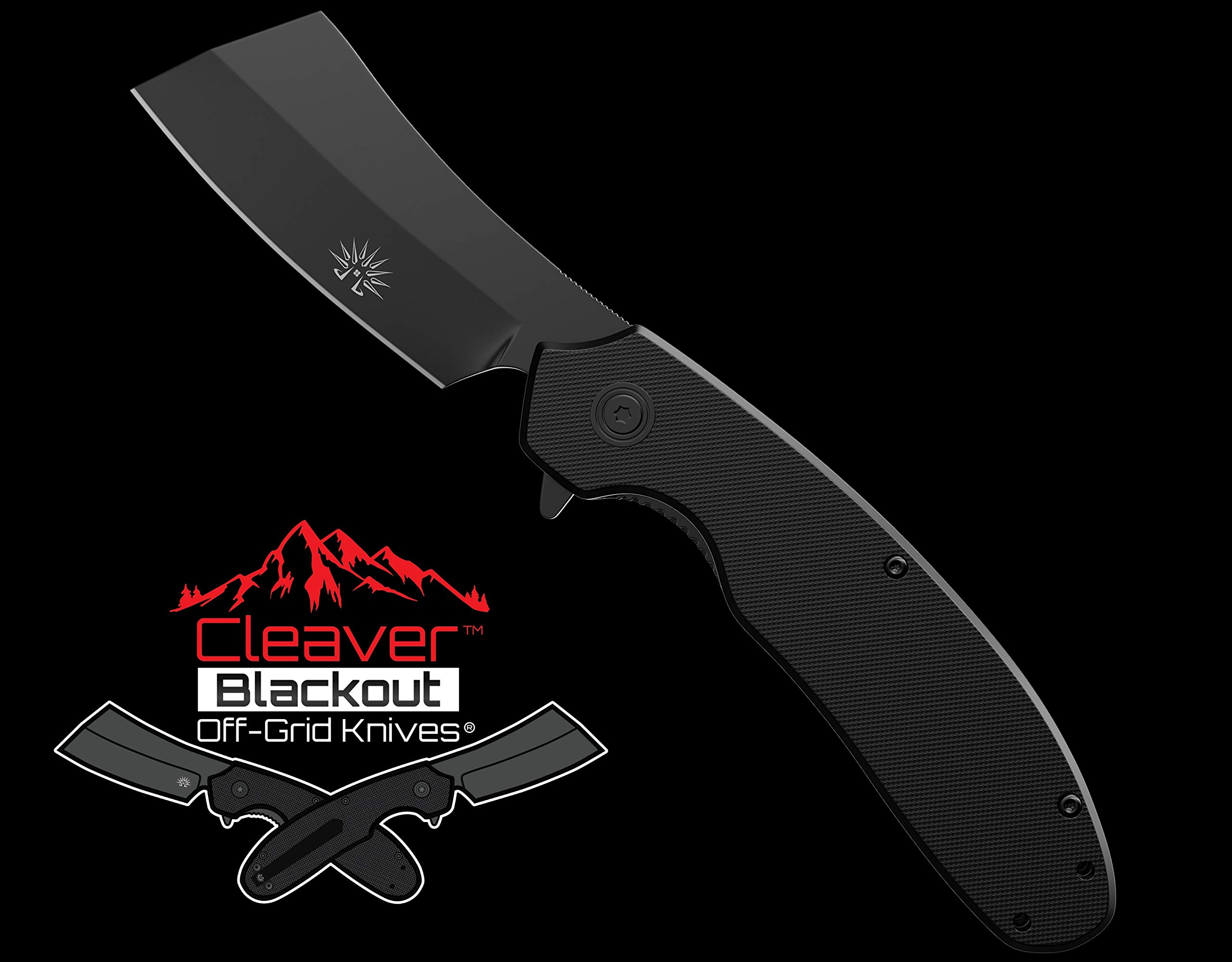 Off-Grid Knives - OG-950B Cleaver Blackout - Legal Carry Tough EDC Folding Knife - Cryo AUS8 Blade Steel with Titanium Nitride Coating, G10 Scales & Tip-Up Reversible Deep Carry by Off-Grid Knives (Image #10)