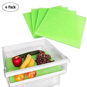 Fruit and Veggie Life Extender Liner by Tenquest 4-Pack, 15X14 Inch, Refrigerator Shelf - Produce Saver, Extends Life and Keeps Refrigerator Fresh Prevents Spoilage -Instructions Included