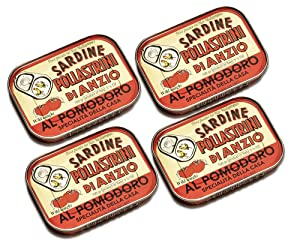 Pollastrini di Anzio Sardines in Tomato Sauce and Olive Oil | Seafood Aficionado Choice Selection | 4 Pack | Italian Gourmet Sardines | Wild Caught and Hand Selected | Premium All Natural | 3.5 oz cans