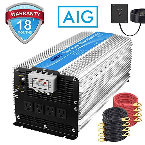 Giandel 5000W Heavy Duty Power Inverter 12V DC to 110V 120V AC with Remote Control and 4 AC Outlets USB Port for RV Truck Boat