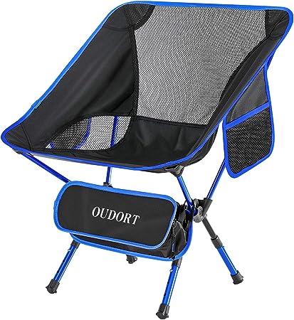 Oudort Silla Plegable Camping Ligera Aluminio de Ajuste de Altura con Bolsa Portátil Waterproof, Silla de Playa Carga hasta 136KG para Camping, ...