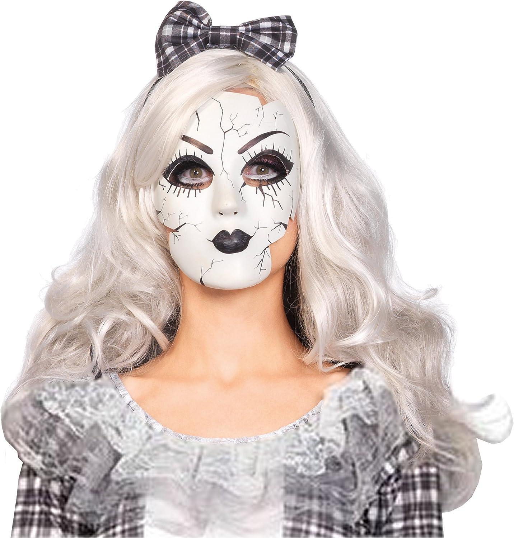 Smiffy/'s Adults Damaged Doll Horror Mask Womens Halloween Fancy Dress Accessory