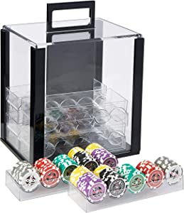 Brybelly Ultimate 14-Gram Heavyweight Poker Chips - Set of 1000 in Acrylic Display Case