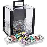 Brybelly - Juego de 1000 fichas de póquer de 14 g, Peso Pesado, en Caja de acrílico