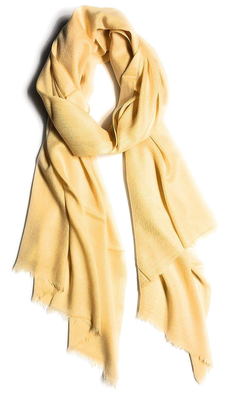 Light Sunshine Yellow Pashmina Cashmere Stole Scarf  Gift Boxed Rare Kashmiri Wool Wrap Scarves for Women