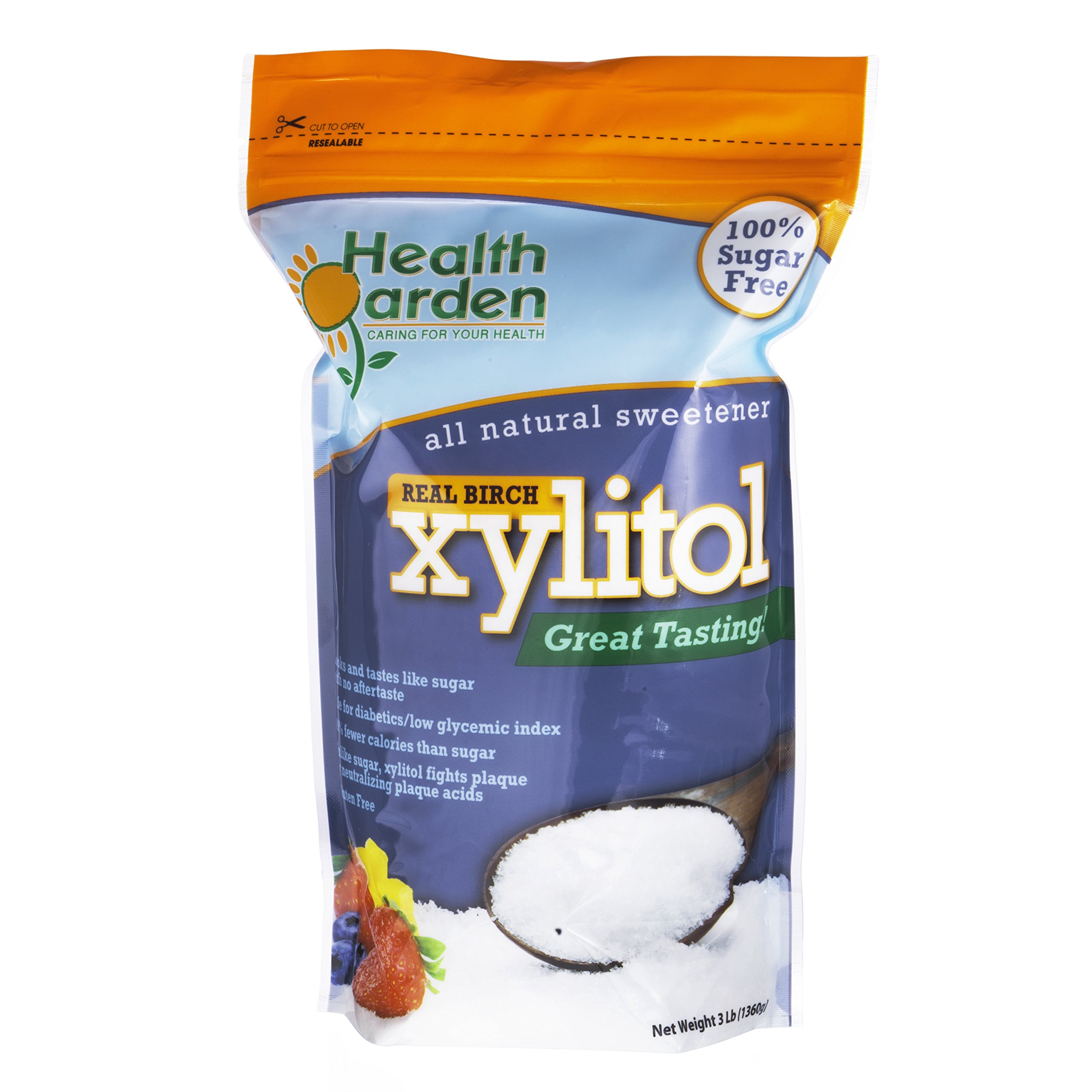 Health Garden Xylitol Sweetener, (Not from Corn (3 Lb) by HEALTH GARDEN