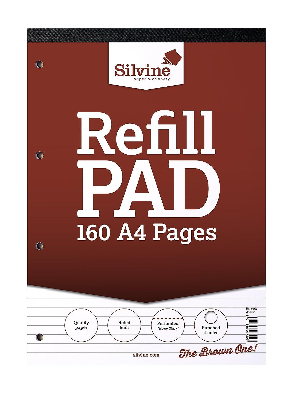R/éf A4rpf /r/églure fine avec 160/pages de papier 75/g//m/² 210/x 297/mm Silvine A4/recharge Pad/
