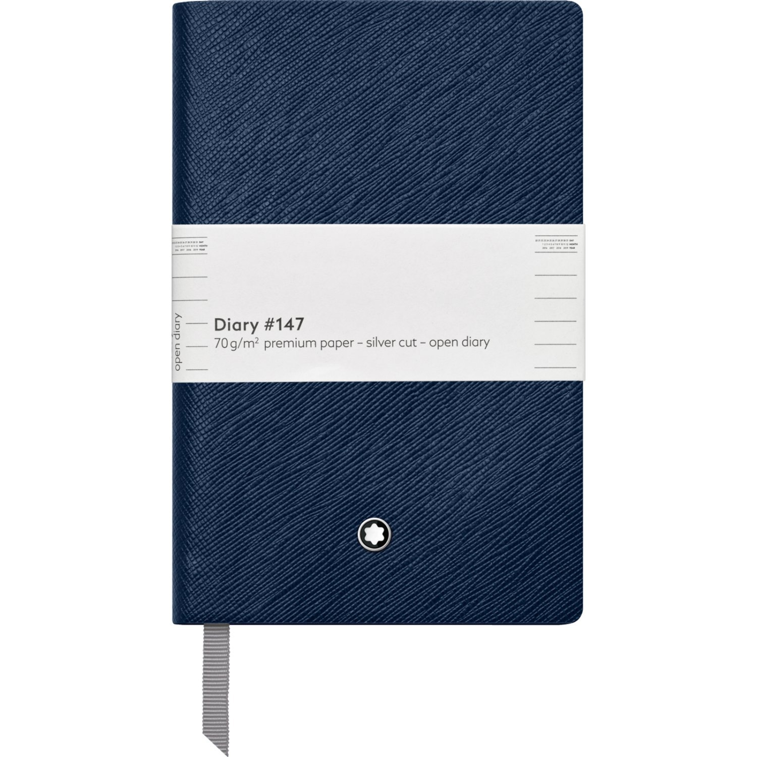 Montblanc Open Diary Indigo #147 Fine Stationery 115622 / Elegant Notebook with Leather Binding and Lined Pages for Daily Planning / 1 x (3.5 x 5.5 in.)