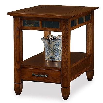 Charmant Slatestone Oak Storage End Table   Rustic Oak Finish