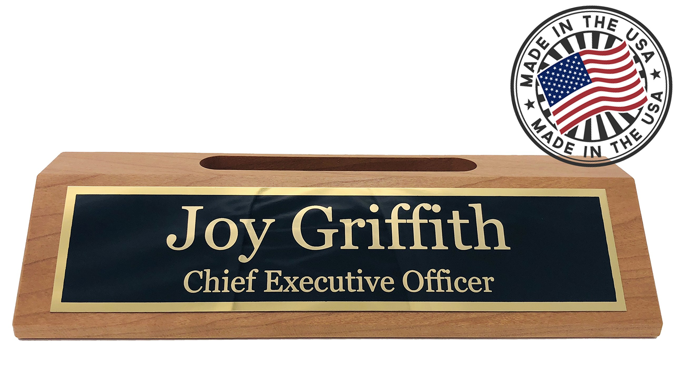 Personalized Business Desk Name Plate with Card Holder - Made in USA (Cherry Wood) by Griffco Supply