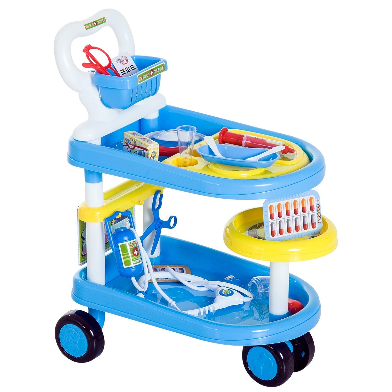 HOMCOM Kinder Arztwagen Doktor Trolley Rollenspiel Blau 47x30x55cm MH Handel GmbH