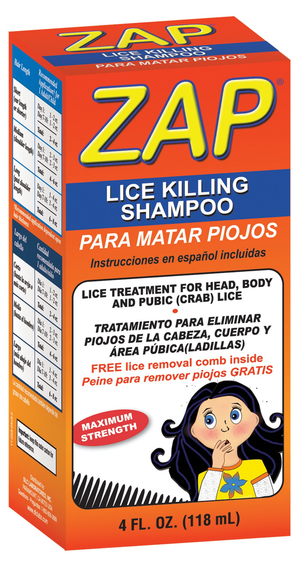 ZAP® Liquid Lice Killing Shampoo/Made in USA/For Adults and Children Ages 2 and Up/4 FL. OZ.