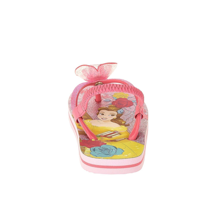 Disney Princess Belle Toddler Little Girl Sandals Flip Flop Pink Glitter Beach Shoes