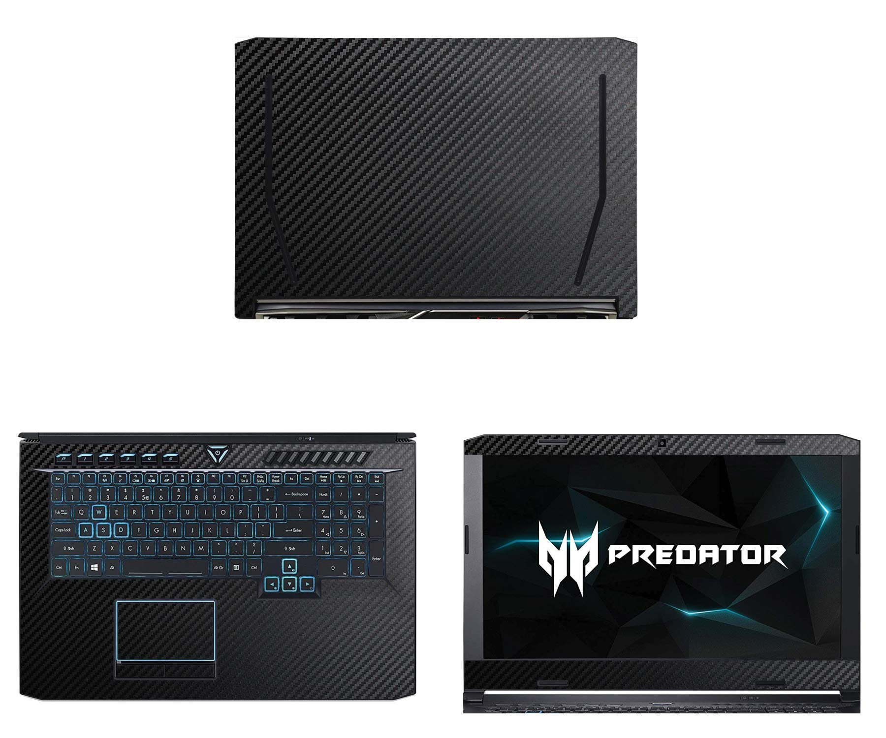 Decalrus - Protective Decal for Acer Predator Helios 500 (17.3'' Screen) Laptop Black Carbon Fiber Skin case Cover wrap CFacerPredatorHelios500_17Black by decalrus (Image #1)