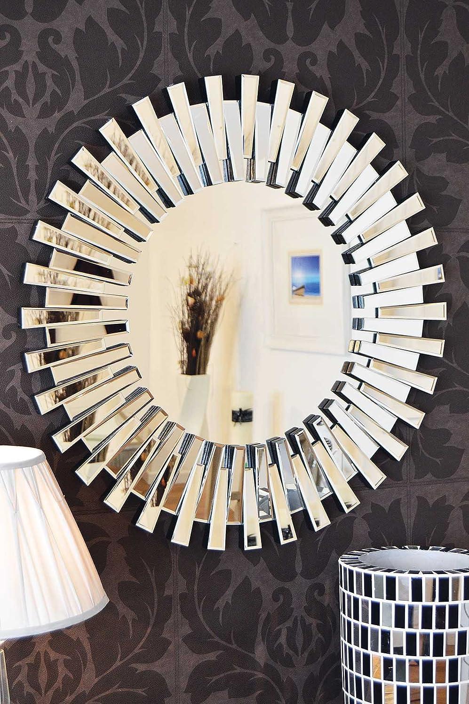 Modern Unique 3D Sunburst All Glass Venetian Round Wall Mirror 3Ft
