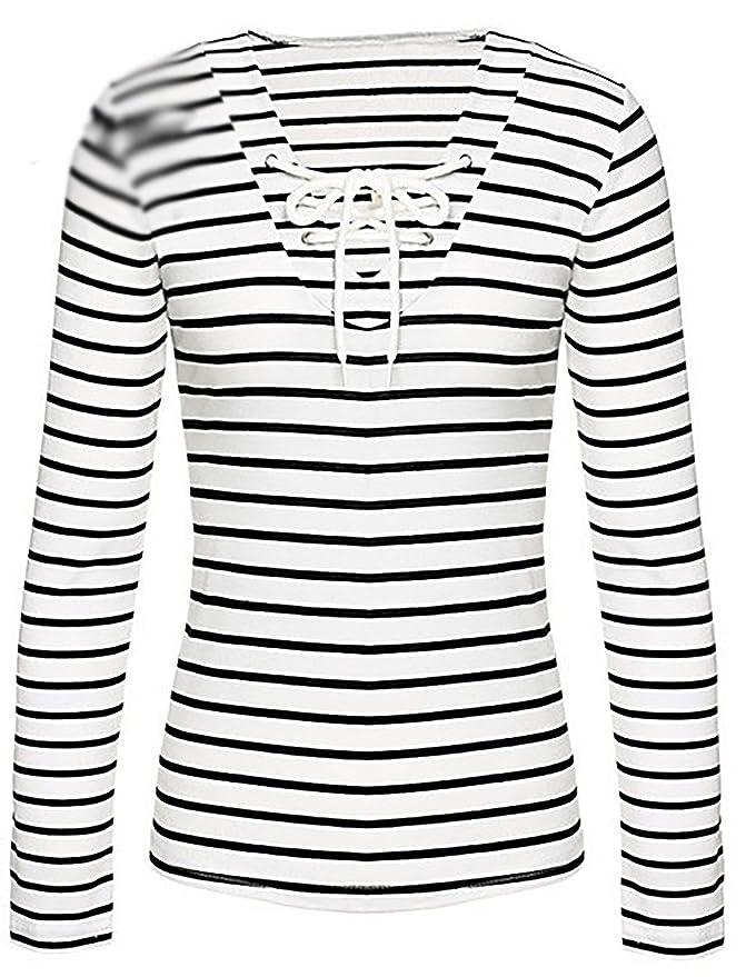 10091a280c3b Oberteile Damen Langarmshirts Nadelstreifen Carmenbluse T-Shirt Modische  Blusen Hemd Baggy Sommerbluse Tops  Amazon.de  Bekleidung