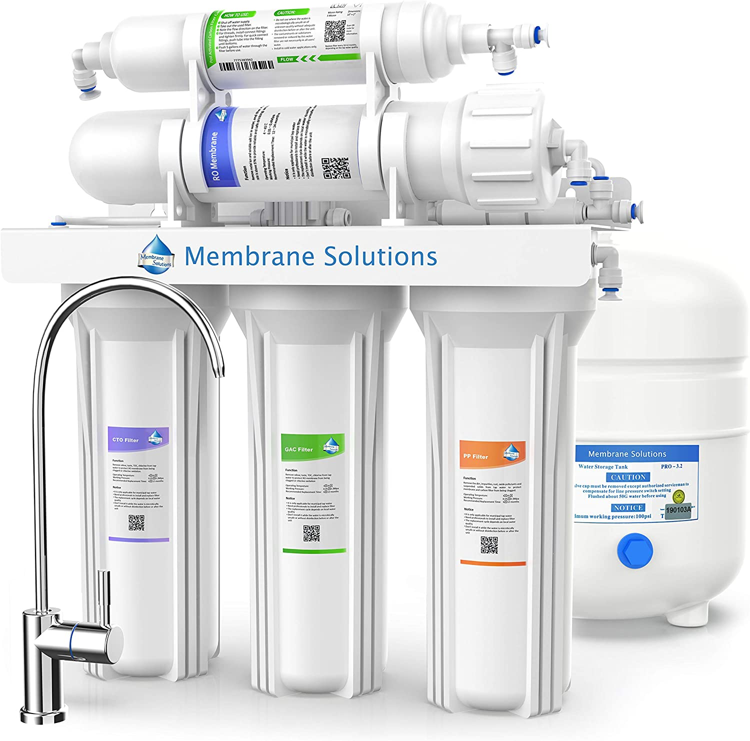 Under Sink 5-Stage Water Filter System-Superb Taste Reverse Osmosis System-75GPD Purifier-High Capacity Drinking Water Filtration Set with Tank and Faucet-Life Water Filter System (5 Stage)