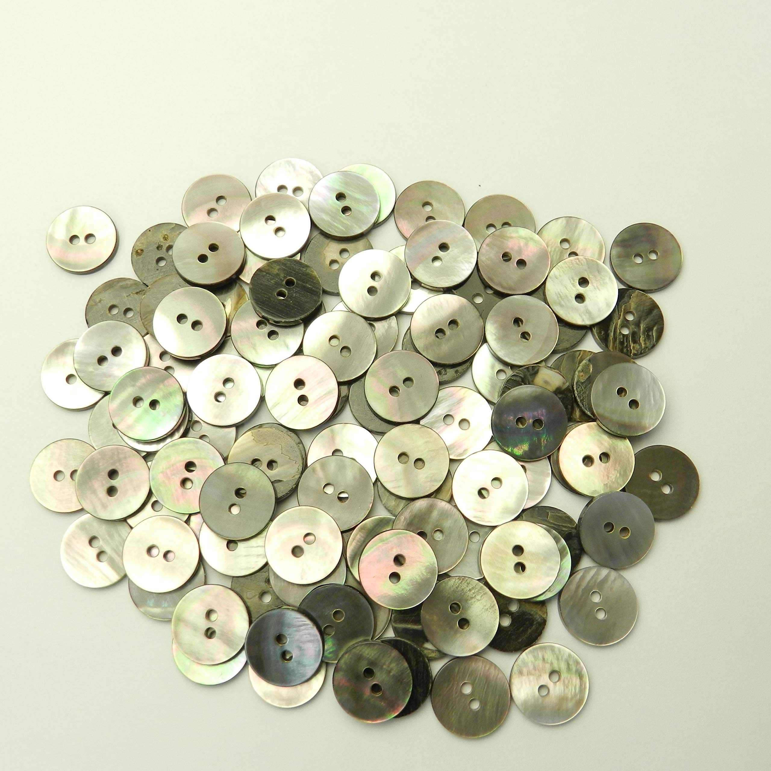 Black Mother of Pearl Shell Button 0.6 inches (5/8'' or 15 mm) (Thick Ver.) 2 Holes Ideal for Jacket Cuffs Cardigans 100 Pieces KUROCHOSARAATU-15-BK-014E by Taisho Resin Star Button
