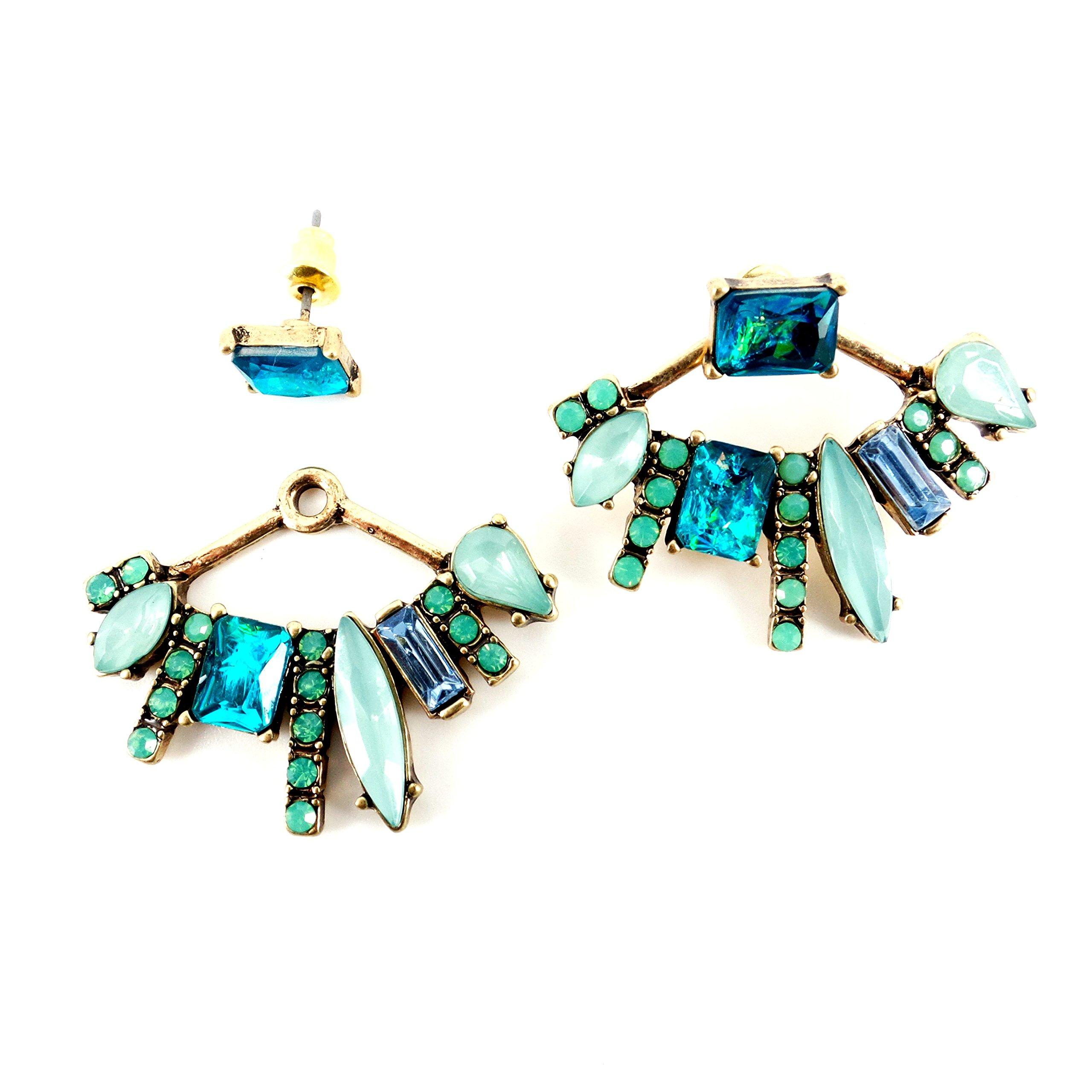 Chic Urban Mint Opal Fire Blue Crystal Statement Ear Jacket Gold Earrings New Trend Gift Idea