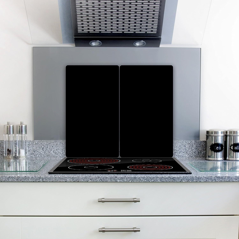 decorwelt Couvercle vitroc/éramique pour plaques /à induction Plaque en verre de s/écurit/é anti-/éclaboussures 2x30x52 cm