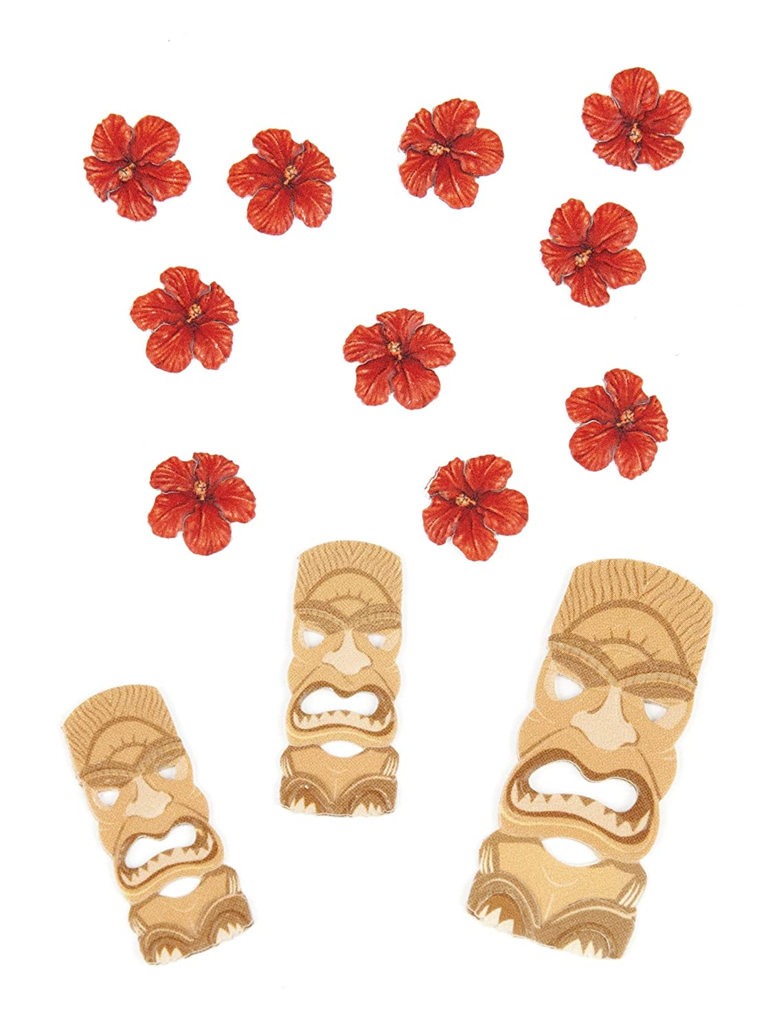 Jolee's Boutique Scrapbooking Embellishment, Tiki Masks and Flowers