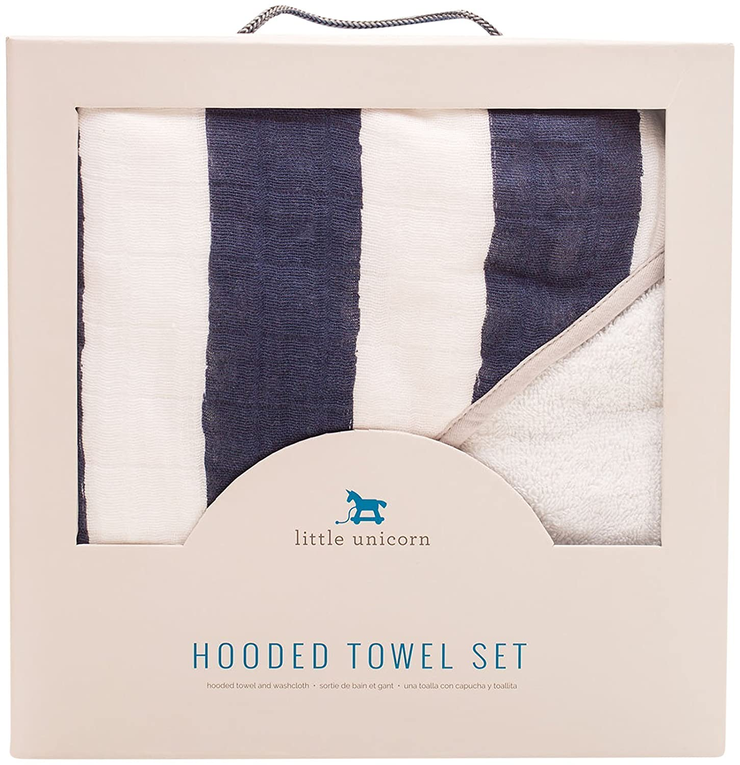 Amazon.com : Little Unicorn Cotton Hooded Towel & Wash Cloth Set - Navy Stripe : Baby