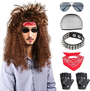 Beelittle 80s Hombres Heavy Metal Rock Wig Punk Disco Disfraz de ...
