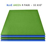 """Brick Building Baseplates (4 pieces of 10"""" x 10"""") in Blue and Green, Works with Major Brick Building Sets, Wonderful Plate for Kids (Blue,Green)"""