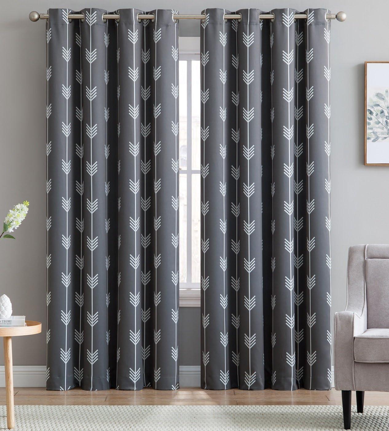 "HLC.ME Arrow Printed Blackout Room Darkening Thermal Grommet Window Curtain Drape Panels for Bedroom - Set of 2 - Grey - 96"" inch Long"