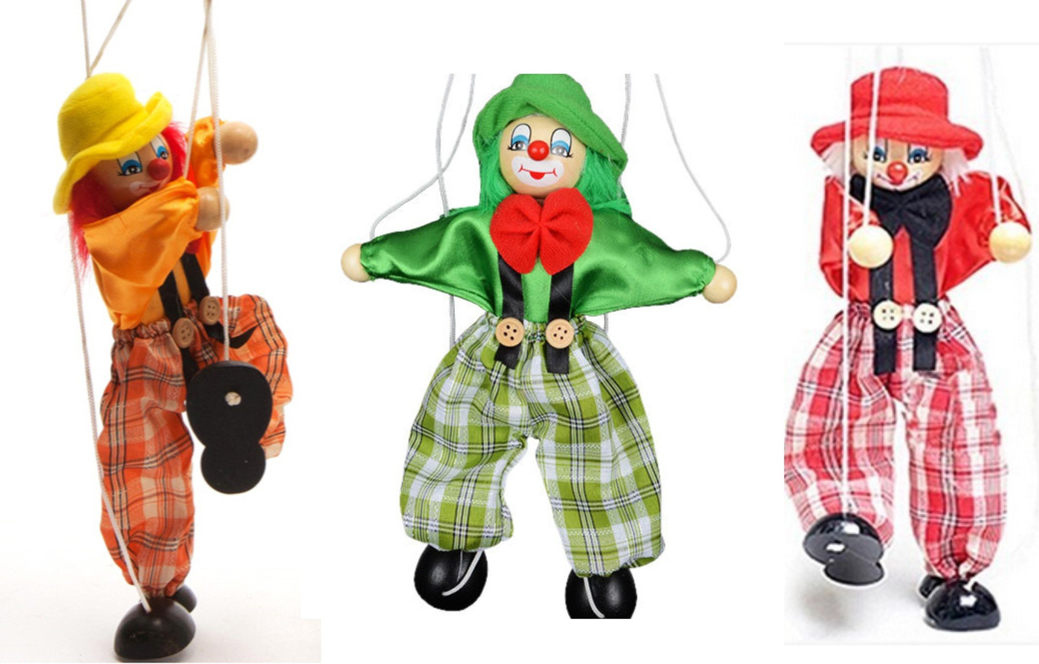 SPARIK ENJOY 3 Packs Clown Hand Marionette Puppet Children's Wooden Marionette Toys Colorful Marionette Puppet Doll Parent-Child Interactive Toys-Yellow and Red, Green