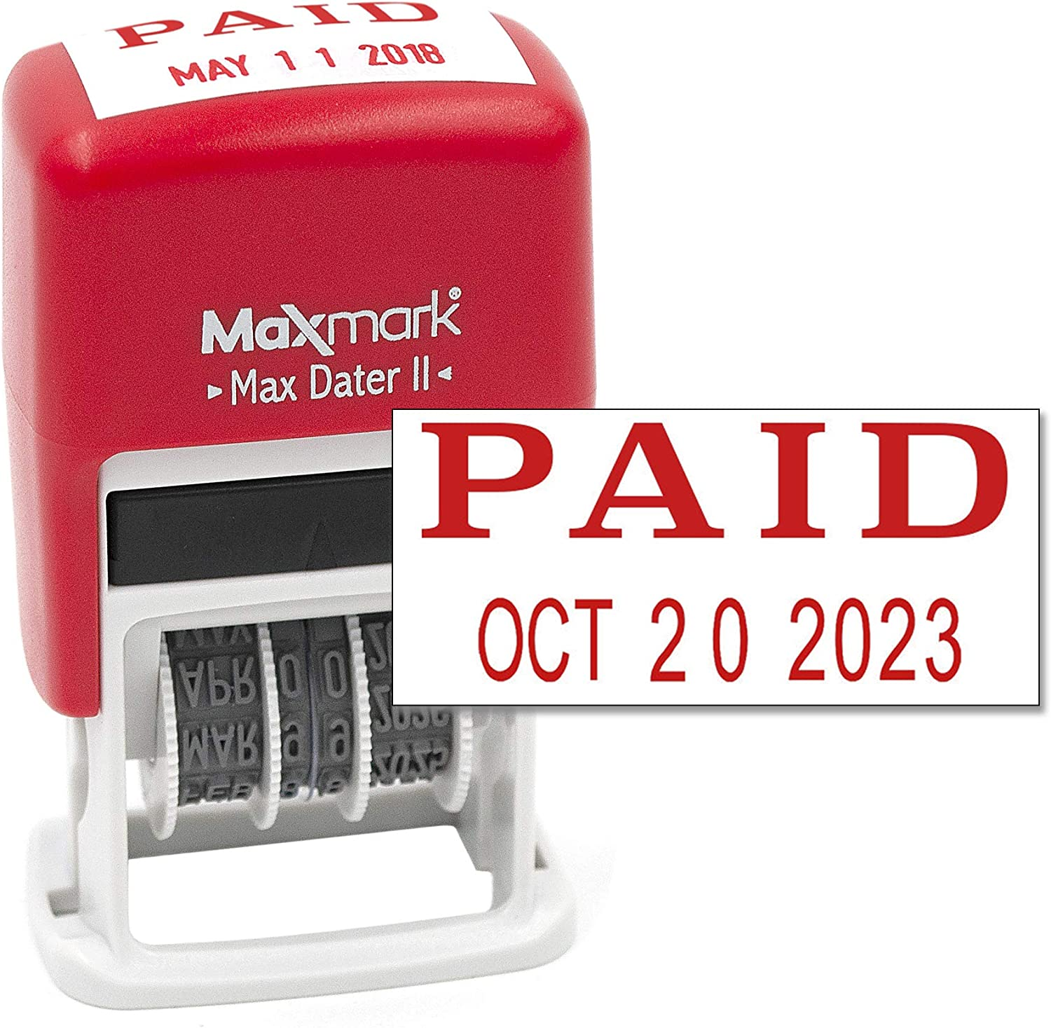 MaxMark Self-Inking Rubber Date Office Stamp with Paid Phrase & Date - RED Ink (Max Dater II), 12-Year Band
