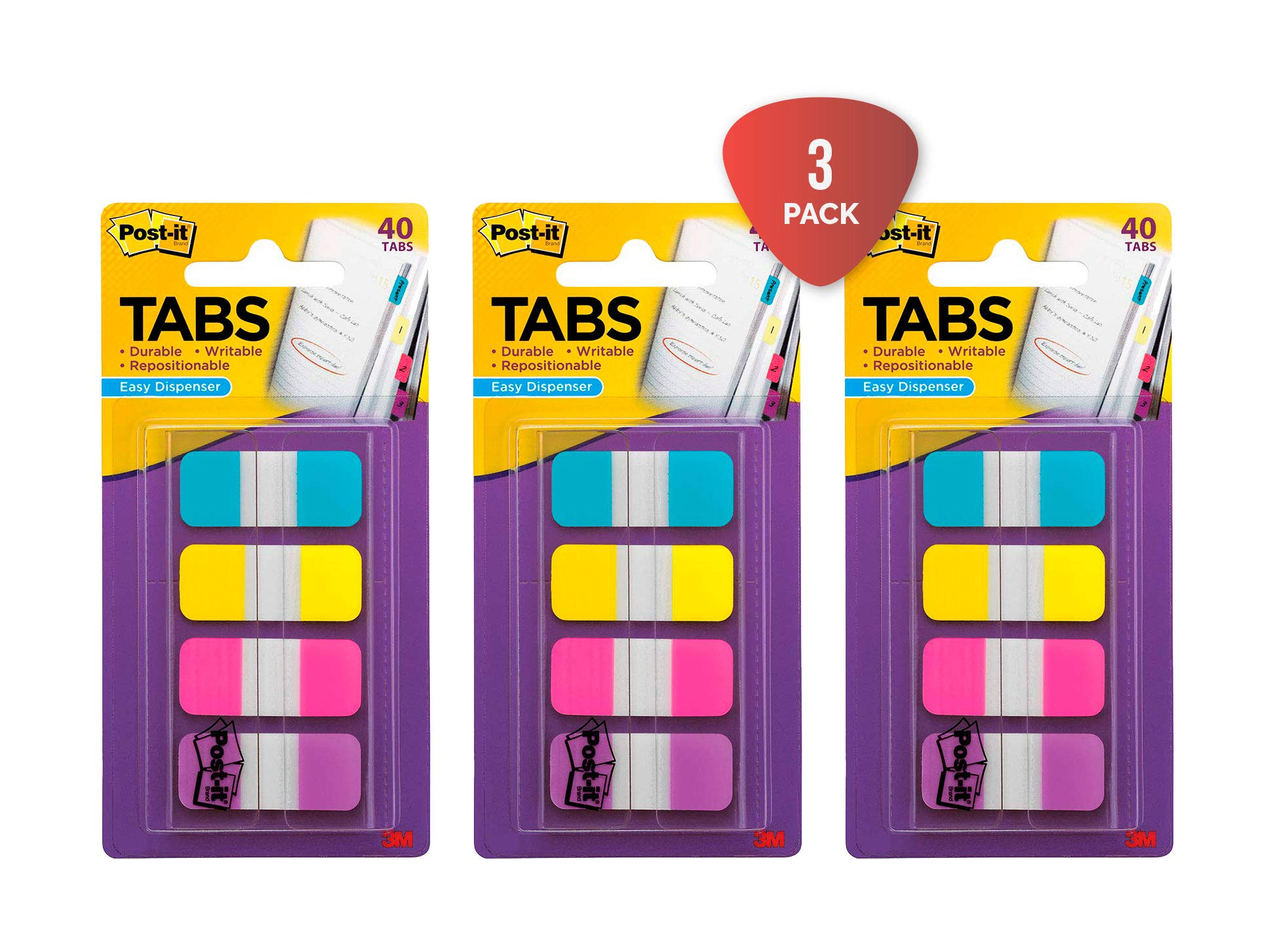 Post-it Tabs.625 in. Solid, Aqua, Yellow, Pink, Violet, Durable, Writable, Repositionable, Sticks Securely, Removes Cleanly, 10/Color, 40/Dispenser, (676-AYPV) Pack of 3 by Post-it